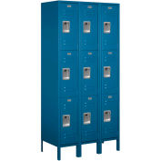 "Salsbury Metal Locker 63368 - Triple Tier 3 Wide 12""W x 18""D x 24""H Blue Assembled"