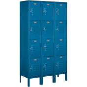 """Salsbury Metal Locker 64352 - Four Tier 3 Wide 12""""W x 12""""D x 15""""H Blue Unassembled"""