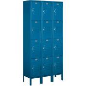 "Salsbury Metal Locker 64362 - Four Tier 3 Wide 12""W x 12""D x 18""H Blue Assembled"