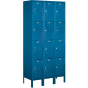 "Salsbury Metal Locker 64365 - Four Tier 3 Wide 12""W x 15""D x 18""H Blue Assembled"