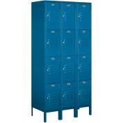 "Salsbury Metal Locker 64368 - Four Tier 3 Wide 12""W x 18""D x 18""H Blue Assembled"