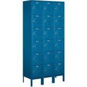 """Salsbury Metal Locker 66365 - Six Tier 3 Wide 12""""W x 15""""D x 12""""H Blue Unassembled"""
