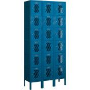 "Salsbury Vented Metal Locker 76362 - Six Tier 3 Wide 12""W x 12""D x 12""H Blue Assembled"
