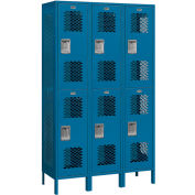 """Salsbury Extra Wide Vented Metal Locker 82368 - Double Tier 3 Wide 15""""Wx18""""Dx36""""H Blue Assembled"""