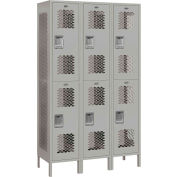 """Salsbury Extra Wide Vented Metal Locker 82368 - Double Tier 3 Wide 15""""Wx18""""Dx36""""H Gray Assembled"""