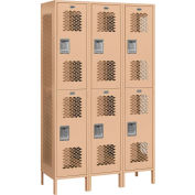 """Salsbury Extra Wide Vented Metal Locker 82368 - Double Tier 3 Wide 15""""Wx18""""Dx36""""H Tan Assembled"""