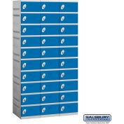 "Salsbury Plastic Locker, Ten Tier, 3 Wide, 12-3/4""W x 18""D x 7-5/16""H, Blue, Assembled"