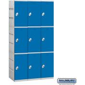 """Salsbury Plastic Locker, Triple Tier, 3 Wide, 12-3/4""""W x 18""""D x 24-5/16""""H, Blue, Assembled"""