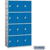 """Salsbury Plastic Locker, Four Tier, 3 Wide, 12-3/4""""W x 18""""D x 18-1/4""""H, Blue, Assembled"""