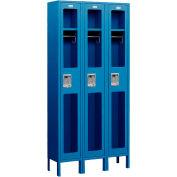 "Salsbury See-Through Metal Locker S-61368 - Single Tier 3 Wide 12""W x 18""D x 72""H Blue Assembled"