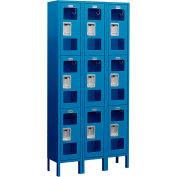 "Salsbury See-Through Metal Locker S-63368 - Triple Tier 3 Wide 12""W x 18""D x 24""H Blue Unassembled"