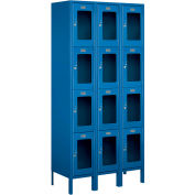 "Salsbury See-Through Metal Locker S-64365 - Four Tier 3 Wide 12""W x 15""D x 18""H Blue Assembled"