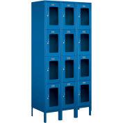 "Salsbury See-Through Metal Locker S-64368 - Four Tier 3 Wide 12""W x 18""D x 18""H Blue Unassembled"