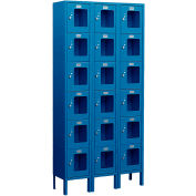 "Salsbury See-Through Metal Locker S-66362 - Six Tier 3 Wide 12""W x 12""D x 12""H Blue Unassembled"