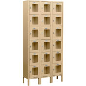 "Salsbury See-Through Metal Locker S-66362 - Six Tier 3 Wide 12""W x 12""D x 12""H Tan Assembled"