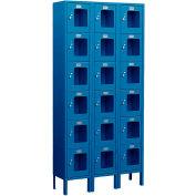 """Salsbury See-Through Metal Locker S-66368 - Six Tier 3 Wide 12""""W x 18""""D x 12""""H Blue Unassembled"""