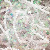 Spring Fill Decorative Filler DC10WH Crinkle Cut, Iridescent/White Paper, 10 Lb. Box