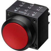 Siemens 3SB3000-0DA21 Pushbutton, Maintained, Red, Flush Cap, Operator, Round-Plastic