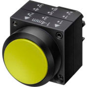 Siemens 3SB3000-0DA31 Pushbutton, Maintained, Yellow, Flush Cap, Operator, Round-Plastic