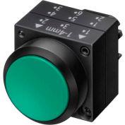 Siemens 3SB3000-0DA41 Pushbutton, Maintained, Green, Flush Cap, Operator, Round-Plastic