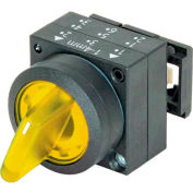 Siemens 3SB3001-2DA31 Selector Switch, Maintained, Yellow, 3 Position, Round-Plastic