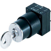 Siemens 3SB3202-4AD11 Keyed Selector Switch, 2 Pos, Cmplt, Round-Pl., RONIS Key Operated Lev O/X