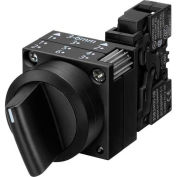 Siemens 3SB3210-2EA11 Selector Switch, Return Left & Right, Black, 3 Position, Round-Plastic