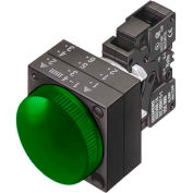 Siemens 3SB3244-6AA40 Pilot, Green, Integrated LED, 24V-LED, Smooth