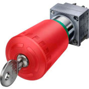 Siemens 3SB3500-1KA20 Pushbutton, Maintained, Red, 40mm, CES Key Operator, Round-Metal