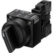 Siemens 3SB3500-2TA11 Selector Switch, Return Left & Right, Black, 3 Position, Round-Metal