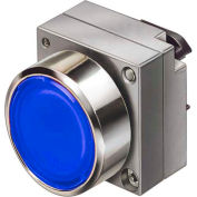 Siemens 3SB3501-0AA51 Pushbutton, Momentary, Blue, Flush Cap, Single Operator, Round Metal