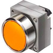 Siemens 3SB3501-0DA01 Pushbutton, Maintained, Amber, Flush Cap, Single Operator, Round Metal