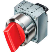 Siemens 3SB3501-2SA21 Selector Switch, Maintained, Red, 3 Position, Round-Metal