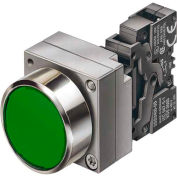 Siemens 3SB3601-0AA41 Pushbutton, Momentary, Green, Flush Cap, Complete, Round-Metal