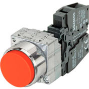 Siemens 3SB3601-0BA21 Pushbutton, Momentary, Red, Extended Cap, Complete Unit, Round-Metal