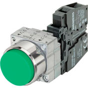 Siemens 3SB3601-0BA41 Pushbutton, Momentary, Green, Extended Cap, Complete Unit, Round-Metal