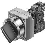 Siemens 3SB3601-2PA11 Selector Switch w/ Contact Block, Blk, 2 Position, Round-Metal, Std. Lev XO/OX