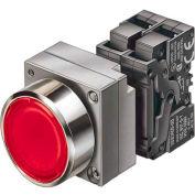 Siemens 3SB3651-0AA31 Illuminated PB, Momentary, Yellow, Flush Cap, Round-Metal, LED - 110VAC