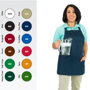 Front Of The House Bib Apron, 27X25, 3 Comp Front Pocket, Royal Blue