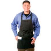Chef Revival Bib Apron, 28X27, 3 Lower Pockets, Black