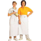 Bistro Apron, 28X34, Side Pocket, Extra Long Self Ties, White