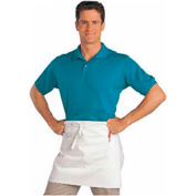 Half Size Bistro Apron, 28X19, 2 Center Pockets, White