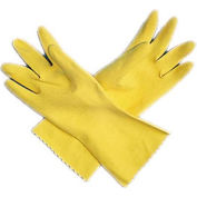 San Jamar 620-S - Dishwashing Glove, Small, 15 mil Thick Latex, Embossed Grip, Flock Lined, Yellow