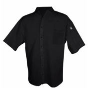 Cook Shirt, X Large, Breast Pocket, Short Sleeve, Black
