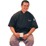 Traditional Chef'S Jacket Qc Lite™, 4X, Short Sleeve, Black