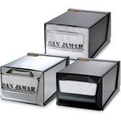 Countertop Napkin Dispensers, 5-1/2 h x 7-5/8 w x 11 d, Chrome Face, Black Body