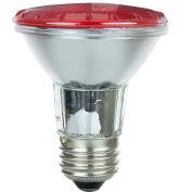 Sunlite 25060-SU 50PAR20/HAL/NFL/R 50W Colored PAR20 Reflector Halogen Bulb, Medium Base, Red - Pkg Qty 15
