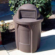 42 Gal. Round Receptacle, Dome Top Lid, Liner - Brown Granite