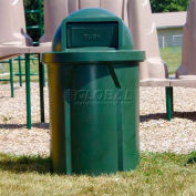 42 Gal. Round Receptacle, Dome Top Lid, Liner - Green