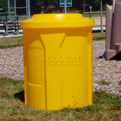 """42 Gal. Round Receptacle, 4"""" Recycle Lid, Liner - Green"""